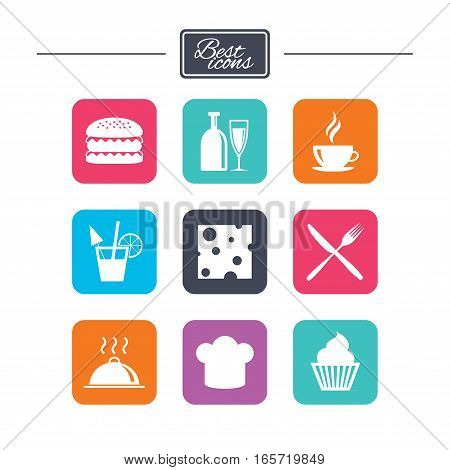 Food, drink icons. Coffee and hamburger signs. Cocktail, cheese and cupcake symbols. Colorful flat square buttons with icons. Vector