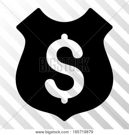 Black Guard Price interface toolbar pictogram. Vector pictogram style is a flat symbol on diagonally hatched transparent background.