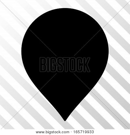 Black Map Marker interface toolbar pictogram. Vector pictogram style is a flat symbol on diagonally hatched transparent background.