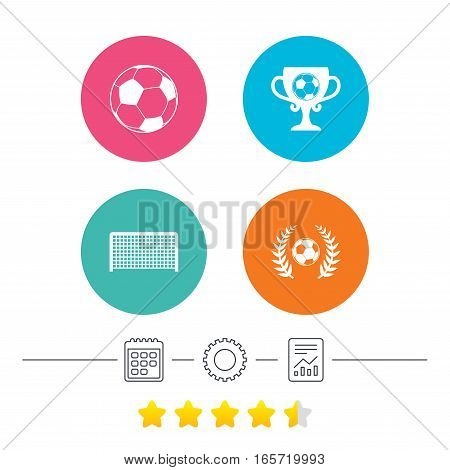 Football icons. Soccer ball sport sign. Goalkeeper gate symbol. Winner award cup and laurel wreath. Calendar, cogwheel and report linear icons. Star vote ranking. Vector