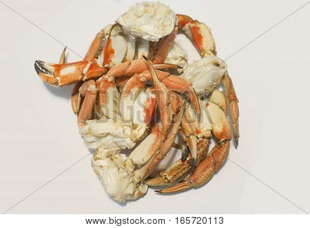 Crab Legs isolated on white background .