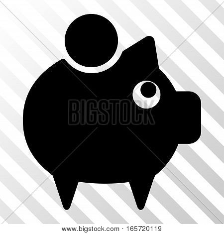 Black Piggy Bank interface pictogram. Vector pictograph style is a flat symbol on diagonally hatched transparent background.