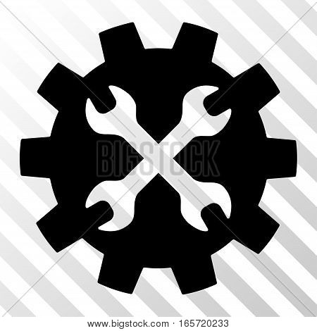 Black Tools toolbar pictogram. Vector pictograph style is a flat symbol on diagonally hatched transparent background.