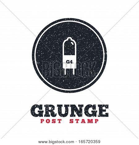 Grunge post stamp. Circle banner or label. Light bulb icon. Lamp G4 socket symbol. Led or halogen light sign. Dirty textured web button. Vector