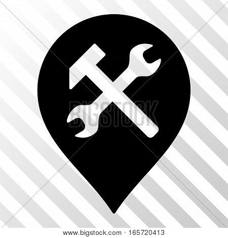 Black Workshop Map Marker interface toolbar pictogram. Vector pictogram style is a flat symbol on diagonal hatch transparent background.