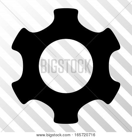 Black Gear toolbar pictogram. Vector pictograph style is a flat symbol on diagonally hatched transparent background.