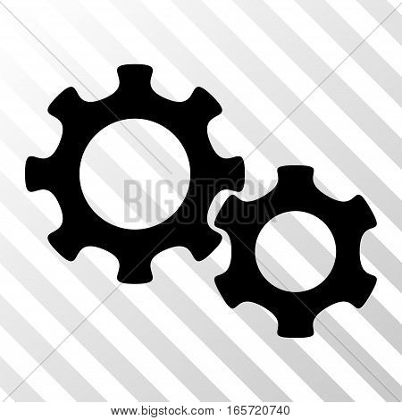 Black Gears toolbar icon. Vector pictogram style is a flat symbol on diagonal hatch transparent background.