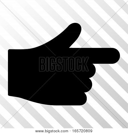 Black Index Hand interface pictogram. Vector pictogram style is a flat symbol on diagonally hatched transparent background.