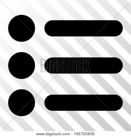 Black Items interface toolbar pictogram. Vector pictogram style is a flat symbol on diagonal hatch transparent background.