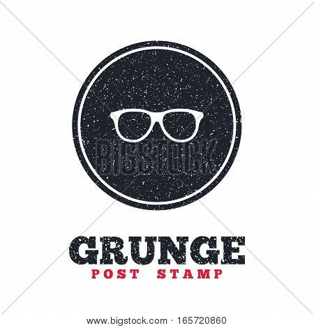 Grunge post stamp. Circle banner or label. Retro glasses sign icon. Eyeglass frame symbol. Dirty textured web button. Vector