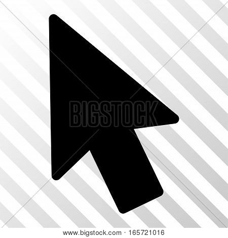 Black Mouse Pointer interface toolbar pictogram. Vector pictograph style is a flat symbol on diagonally hatched transparent background.