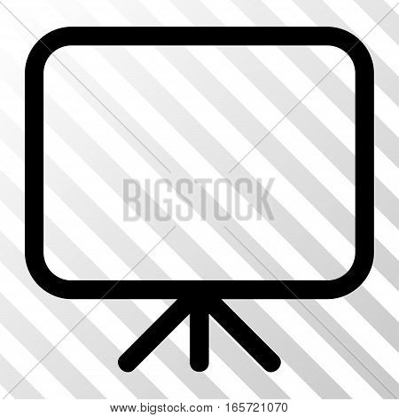 Black Presentation Screen interface toolbar icon. Vector pictograph style is a flat symbol on diagonally hatched transparent background.