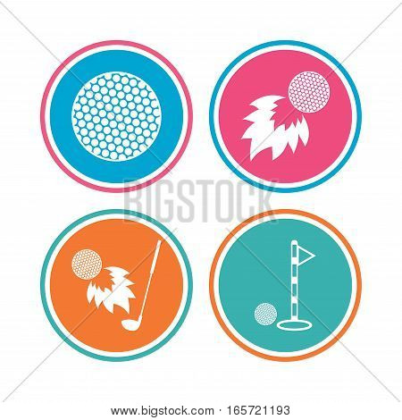 Golf ball icons. Fireball with club sign. Luxury sport symbol. Colored circle buttons. Vector