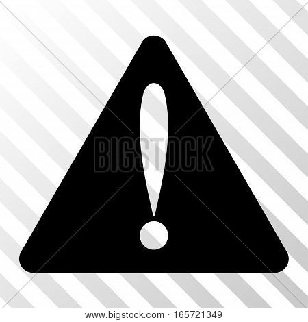 Black Warning Error interface pictogram. Vector pictogram style is a flat symbol on diagonal hatch transparent background.