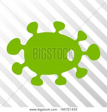 Eco Green Bacteria interface pictogram. Vector pictograph style is a flat symbol on diagonally hatched transparent background.