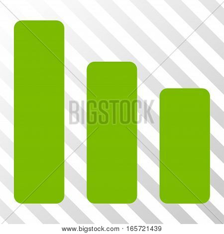 Eco Green Bar Chart Decrease interface toolbar icon. Vector pictogram style is a flat symbol on diagonally hatched transparent background.