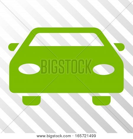 Eco Green Car toolbar icon. Vector pictogram style is a flat symbol on diagonal hatch transparent background.