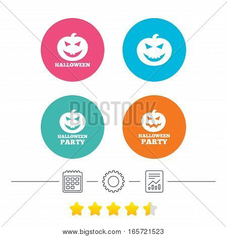 Halloween pumpkin icons. Halloween party sign symbol. All Hallows Day celebration. Calendar, cogwheel and report linear icons. Star vote ranking. Vector