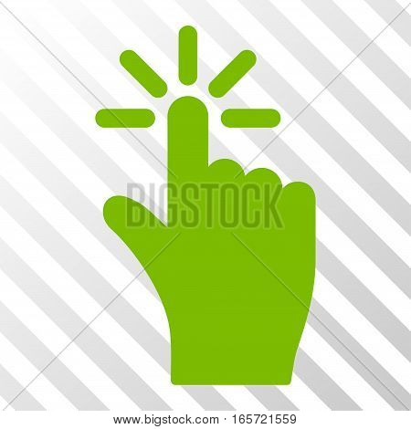 Eco Green Click interface toolbar pictogram. Vector pictograph style is a flat symbol on diagonal hatch transparent background.
