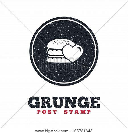 Grunge post stamp. Circle banner or label. Hamburger icon. Burger food symbol. Cheeseburger sandwich sign. Dirty textured web button. Vector