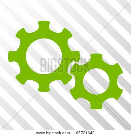 Eco Green Gears interface toolbar icon. Vector pictograph style is a flat symbol on diagonal hatch transparent background.