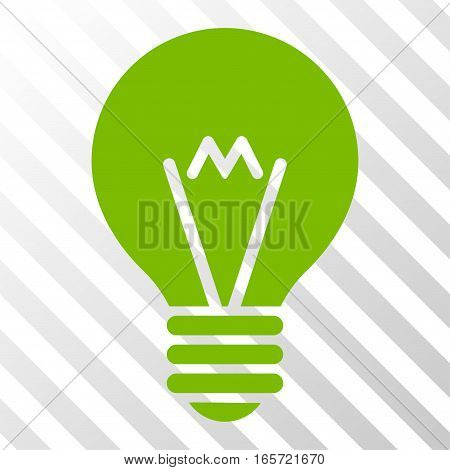 Eco Green Hint Bulb interface pictogram. Vector pictogram style is a flat symbol on diagonal hatch transparent background.