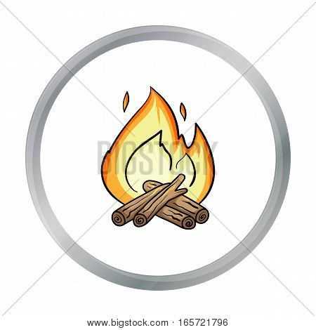 Campfire icon in cartoon design isolated on white background. Fishing symbol stock vector illustration.