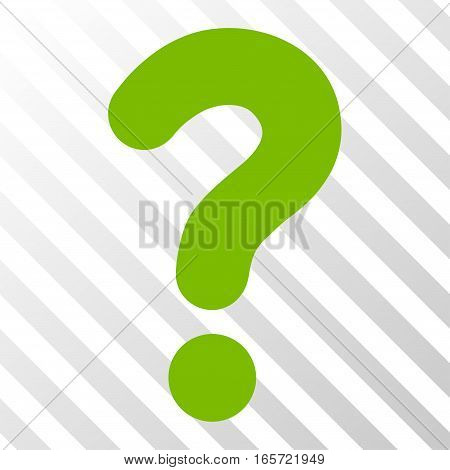 Eco Green Question toolbar icon. Vector pictogram style is a flat symbol on diagonally hatched transparent background.