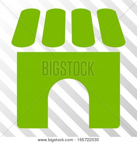 Eco Green Shop interface toolbar pictogram. Vector pictogram style is a flat symbol on diagonally hatched transparent background.