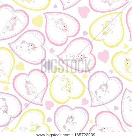 Valentine's Day seamless background with cute unicorns on love frame suitable for Valentine's Day scrap paper, wallpaper, and postcard
