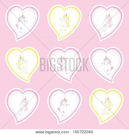 Valentine's Day cupcake topper with cute unicorns on love frame on pink background suitable for Valentine's Day sticker set, cupcake topper, and clip art