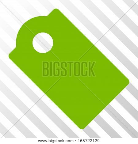 Eco Green Tag interface icon. Vector pictograph style is a flat symbol on diagonal hatch transparent background.