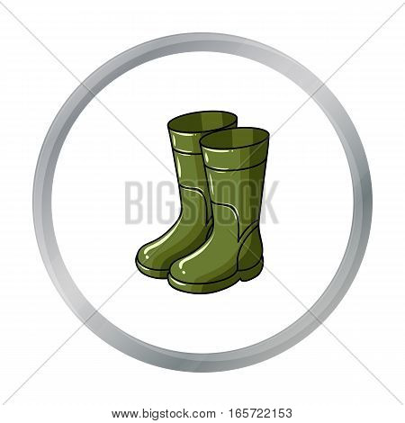 Rubber boots icon in cartoon design isolated on white background. Fishing symbol stock vector illustration.
