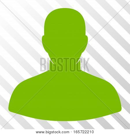 Eco Green User toolbar pictogram. Vector pictograph style is a flat symbol on diagonally hatched transparent background.