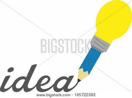 Blue Light Bulb Pencil Writing Idea
