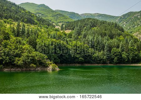 Green waters and forest San Domenico Lake Gole Del Sagittario canyon Abruzzi Italy.