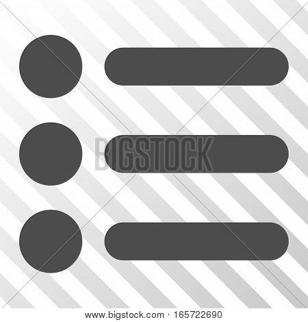 Gray Items interface toolbar icon. Vector pictograph style is a flat symbol on diagonally hatched transparent background.