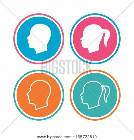 Head icons. Male and female human symbols. Woman with pigtail signs. Colored circle buttons. Vector