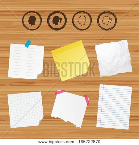 Business paper banners with notes. Head icons. Male and female human symbols. Woman with pigtail signs. Sticky colorful tape. Vector