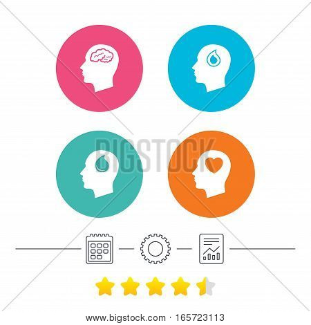 Head with brain icon. Male human think symbols. Blood drop donation sign. Love heart. Calendar, cogwheel and report linear icons. Star vote ranking. Vector