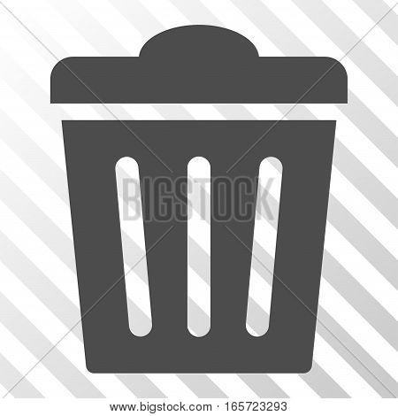 Gray Trash Can interface pictogram. Vector pictograph style is a flat symbol on diagonal hatch transparent background.