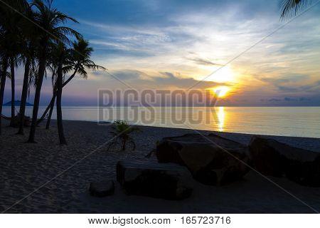 Sunrise morning at Ban Krut Beach Prachuap Khirikhun Province Thailand