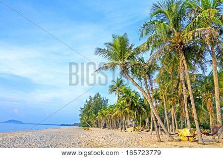 Sunshine morning on beach Ban Krut Prachuap Khirikhun Province Thailand