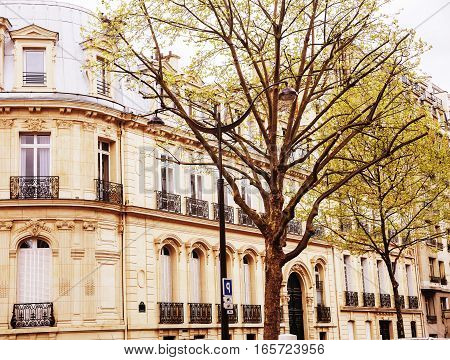 houses on french streets of Paris. citylife concept post card view