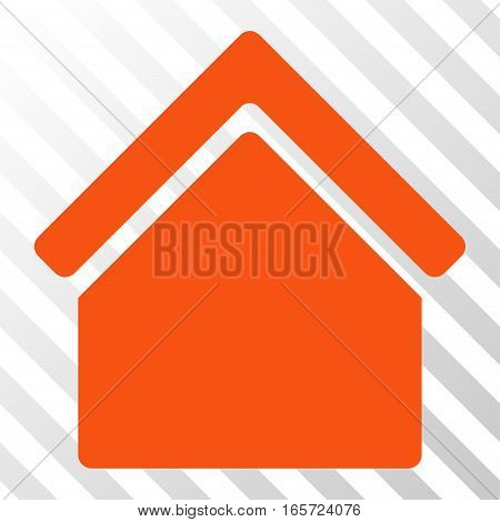 Orange Home interface pictogram. Vector pictograph style is a flat symbol on diagonally hatched transparent background.
