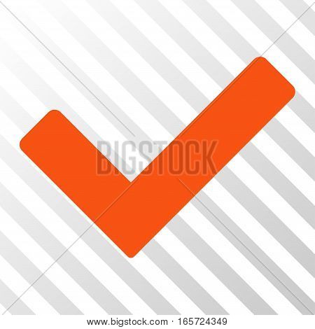 Orange Ok interface pictogram. Vector pictogram style is a flat symbol on diagonal hatch transparent background.