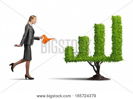 Young attractive businesswoman watering plant in pot with can on white background