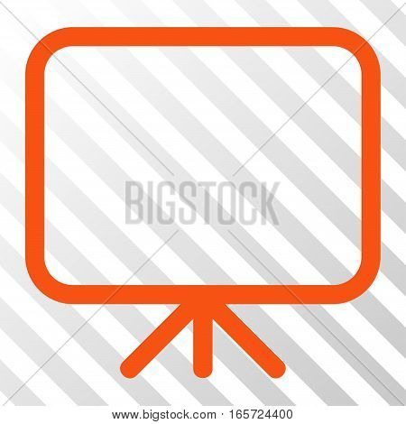 Orange Presentation Screen toolbar icon. Vector pictogram style is a flat symbol on diagonally hatched transparent background.