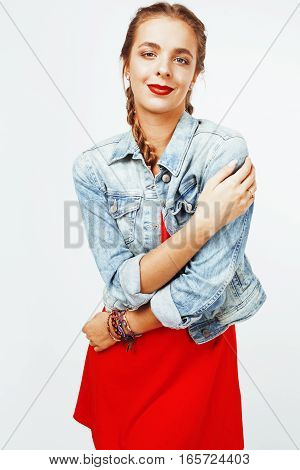 young pretty stylish hipster blond girl with pigtails posing emotional isolated on white background happy smiling cool smile, lifestyle people concept close up