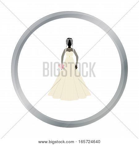 Bride icon in cartoon design isolated on white background. Bride symbol stock vector illustration.